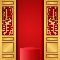 kinesiskt nyår röd bakgrundsbanner med podiumsockelproduktsdisplay med gyllene dörrar vektor