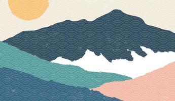 kreativer minimalistischer natürlicher Landschaftshintergrund, Naturgebirgslandschaftsmalerei mit japanischem Wellenmustervektor. vektor