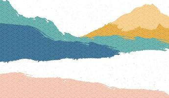 kreativ minimalistisk naturlandskap bakgrund, natur berg landskap målning med japanska våg mönster vektor. vektor