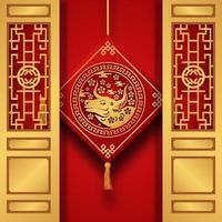 röd färg förmögenhet tur med ox zodiak djur kinesiska nyåret med dörr och hängande dekoration vektor