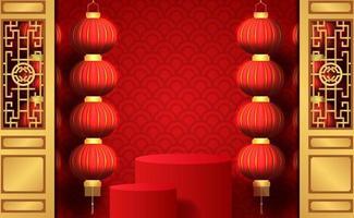 Frohes chinesisches Neujahrsglück mit roter Farbe und Laternenbanner vektor