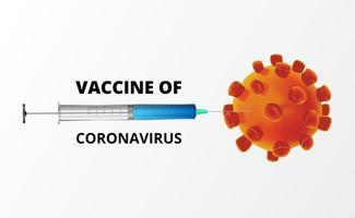 Coronavirus bekämpfen. Impfstoff gegen Covid-19. Illustrationskonzept des Spritzen- und 3D-Virusbakterienkonzepts. vektor
