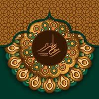 affisch banner gratulationskort mall. islamisk händelse med lyxigt elegant gyllene grönt mandala geometriskt mönster med ramadan kareem arabisk kalligrafi vektor