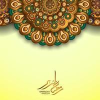 gratulationskortmall för islamisk vektordesign med gyllene färg dekorativa mandala mönster och ramadan kareem arabisk kalligrafi vektor