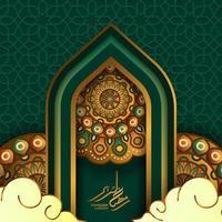 islamisk mall för gratulationskort. illustration av portdörrmoskén med cirkel runt mandala, ramadan kareem gyllene kalligrafi och grön bakgrund vektor