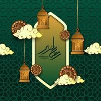 islamisk händelse gratulationskort med ramadan kareem arabisk kalligrafi. fönstermoskéillustration med hängande fanoos ljuslykta, cirkelmandala, moln och grönt geometriskt mönster vektor