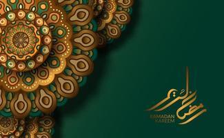 islamisk gratulationskortmall. lyxmotiv geometriskt traditionellt mandala mönster med grön bakgrund och ramadan kareem kalligrafi vektor