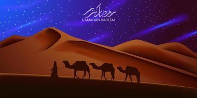 vacker bakgrund i öknen med silhuetten av kamel som reser på natten vektor