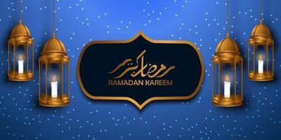 helig fastemånad för muslimsk mosleem. islamisk händelse ramadan kareem gratulationskort. vacker illustration av hängande fanös lykta och arabisk kalligrafi vektor