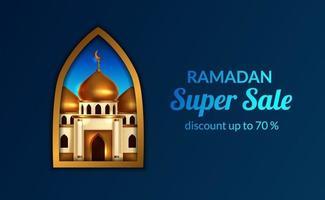 ramadan försäljning erbjuda banner mall med illustration av 3d gyllene kupolen moskén vy från fönstret guld ram. helig månad fasta islamisk händelse. vektor