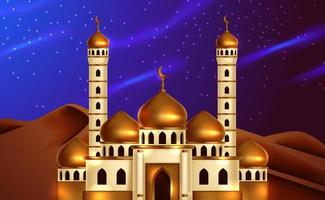Guld- kupolmoské 3d på sikt för ökennatthimmel. illustration för islamisk händelse. helig fastamånad, ramadan. vektor