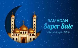 ramadan försäljning erbjuda banner mall med illustration av gyllene kupol moskén med halvmåne och blå ljus bakgrund vektor