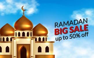 ramadan försäljning erbjuda banner mall med illustration av vackra 3d gyllene kupol moské byggnad med blå himmel bakgrund. islamisk händelse helig fastamånad vektor