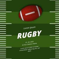 American Football Rugby Poster Banner Vorlage mit 3d ovalen Ball vektor
