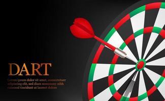 Dartgenauer und erfolgreicher Zielpunkt auf der Dartscheibenillustration. Konzept des Geschäftsmarktziels und -ziels vektor