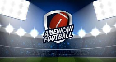amerikansk fotboll rugby logotyp på stadion vektor