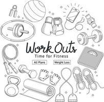 Fitness Workouts Hand gezeichneten Stil. Vektorabbildungen. vektor