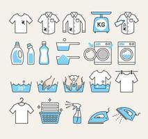 Tvättservice ikoner. vektor illustrationer.
