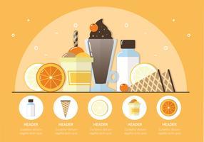 Vektorfrüchte und Eiscreme-Illustration