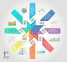 Vorlage für Geschäftsinfografiken. Vektorabbildungen. Kann für Workflow-Layout, Banner, Diagramm, Nummernoptionen, Webdesign und Timeline-Vorlage verwendet werden.