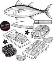 Lachsfischfleisch. Hand gezeichneter Stil der japanischen Lebensmittelkritzeleieelemente. Vektorabbildungen. vektor