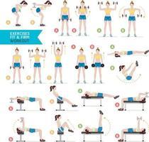 kvinna träning fitness, aerobic och övningar. vektor illustration.