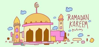 Ramadan Kareem islamische Moschee Kinder Hand gezeichneten Gruß vektor