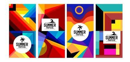 bunte geometrische und tropische Sommerhintergrundfahne des Vektors vektor