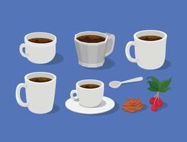 Kaffeetassen, Tassen, Löffel mit Beeren, Blättern und Bohnen Vektor-Design vektor