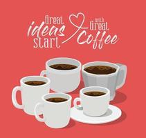 Tolle Ideen beginnen mit tollem Kaffee-Vektor-Design vektor