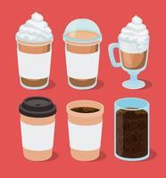 Eis und heiße Kaffeetassen setzen Vektordesign vektor
