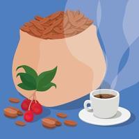 Kaffeebohnen, Beutel, Tasse, Beeren und Blätter Vektordesign vektor