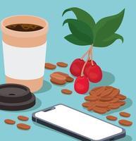 Kaffeetasse, Smartphone, Bohnen, Beeren und Blätter Vektor-Design vektor