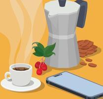 Kaffee Moka Kanne, Tasse, Smartphone, Bohnen, Beeren und Blätter Vektor-Design vektor