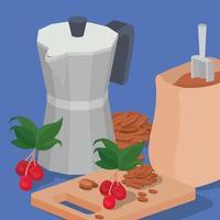 Kaffeebohnen, Beutel, Moka-Kanne, Beeren und Blätter Vektordesign vektor