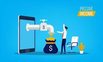 passivt inkomstkoncept med mannen känns glädje och lyckligt medan pengar flyter från smarttelefonsymbolen. vektor