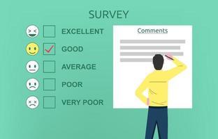 Mann, der das Umfrageformularkonzept ausfüllt. ein Fragebogen zur Kundenzufriedenheitsvektorillustration vektor