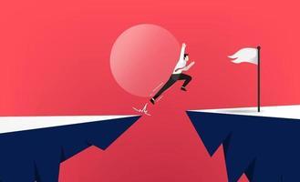 mutiger Geschäftsmann springen durch die Lücke zwischen Hügel. Geschäftssymbolideenvektorillustration vektor
