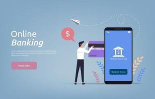 målsidesmall för onlinebankens konceptillustration. vektor
