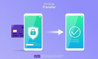 online överföring vektor koncept. penningöverföring från smartphone till en annan med kreditkort, sköld, hänglås och pilsymbol. kan användas för banner, målsida, flygblad, app för sociala medier