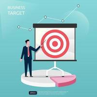Geschäftsmann präsentiert Geschäftsziel für Unternehmen oder Unternehmen. Diagramm- und Diagrammsymbol, Vektorillustration