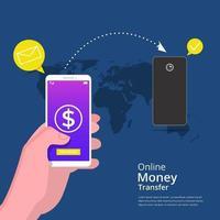 online-pengaröverföringskoncept. händer som håller smartphone för att överföra pengar via internet med karta, dollar och pilsymbol. kan användas för banner, målsida, flygblad, app för sociala medier vektor