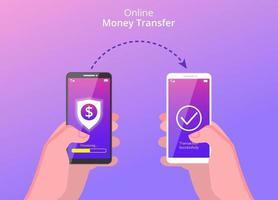 online-pengaröverföringskoncept. händer som håller smartphone för att överföra pengar via internet med sköld, dollar och pilsymbol. kan användas för banner, målsida, flygblad, app för sociala medier vektor