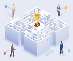 Konzeption der Geschäftslösung. Geschäftsmann, der an Labyrinthvektorillustration steht. vektor