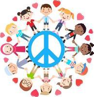 Kinder lieben Friedenskonzept. Gruppen von Kindern schließen sich rund um das Friedenssymbol an. Vektorillustration. vektor