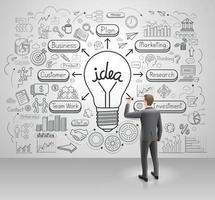 Geschäftsmann, der Geschäftsideide-Glühbirne an der Wand zeichnet. Grafik kritzelt Vektorillustrationsstil. vektor