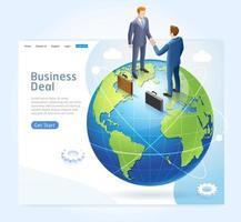 Konzeption der Geschäftspartnerschaft. Handschlag der Geschäftsleute auf der Erdkugel. vektor