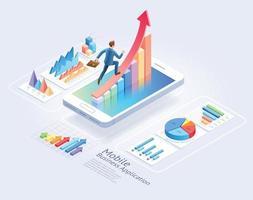 Mobile Business Applications Website UI-Design. Geschäftsmann läuft auf rotem Pfeil und isometrischen Infografikelementen. grafische Vektorillustration. vektor