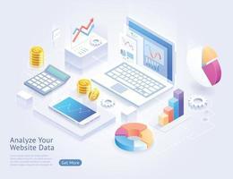 analysera webbplatsutvecklingsvektor isometriska illustrationer. vektor