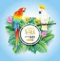 sommarförsäljningskort med kakadua och scharlakansröd ara på tropiska bladblommor pappersskuren bakgrund. vektor illustration